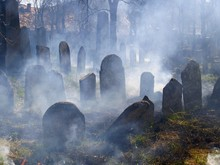 Cemetery Headstones In Veil Of Mist, Jewish Cemetery In Straznice, Hodonin District, Southern Moravia, Czech Republic, Europe