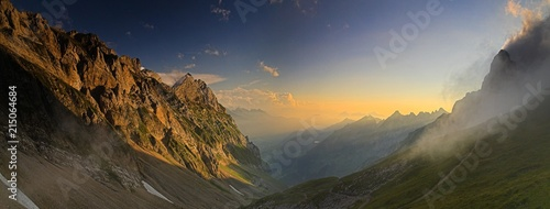 Evening mood, picture taken from Rotstein mountain pass in the Alpstein Alps, Swiss Alps, Switzerland, Europe