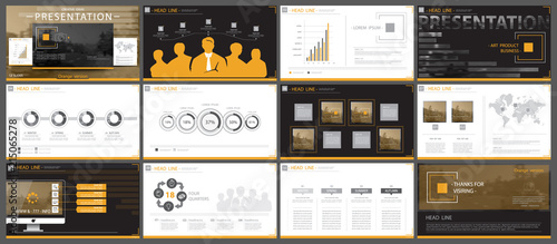 Fototapeta A set of orange,black elements of infographics, white background.Themes, presentations.Slide set.Use business presentations,corporate reports, marketing, advertising,anniversaries booklets banners obraz na płótnie
