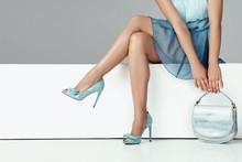 Legs Woman Wearing High Heels ...