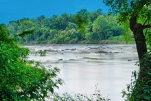 A View Of The Congaree River, Near The City Of Columbia, South Carolina In Long Exposure.