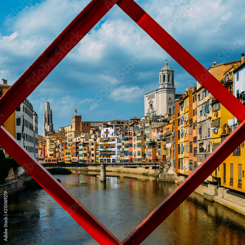 Iron bridge in Girona, Catalonia, Spain