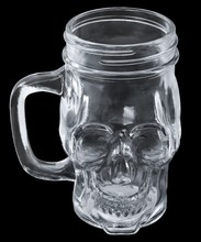 Glass Mug Skull With Handle, Isolated On Black Background