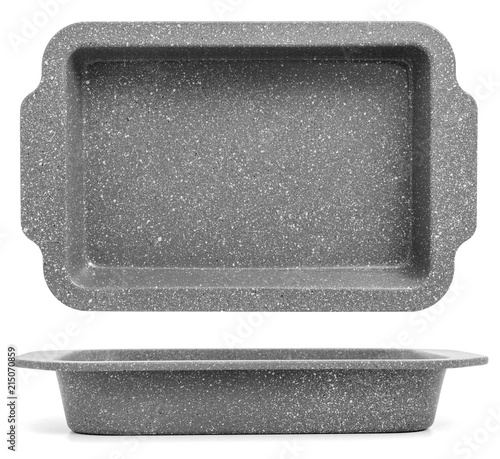 Gray baking tray isolated on white background