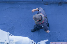 Sailor On A Warship Goes On Th...