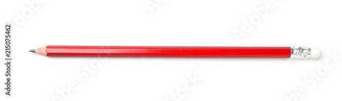 Photo  Pencil on white background. School stationery