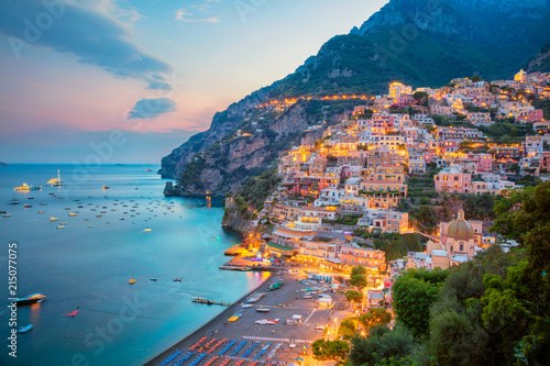Poster de jardin Cote Positano. Aerial image of famous city Positano located on Amalfi Coast, Italy during sunset.