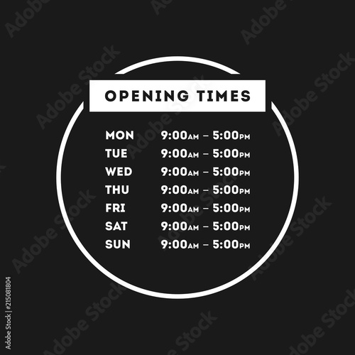 Fotografering  Vector Opening Times Circle Design