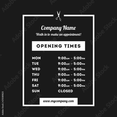 Fotografia, Obraz  Vector Opening Times Vertical Rectangle Design Hairdresser