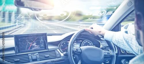 Fotografia Composite image of digital image of cars and tools