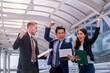Business People Success Team Celebration Concept teamwork Hands raise.