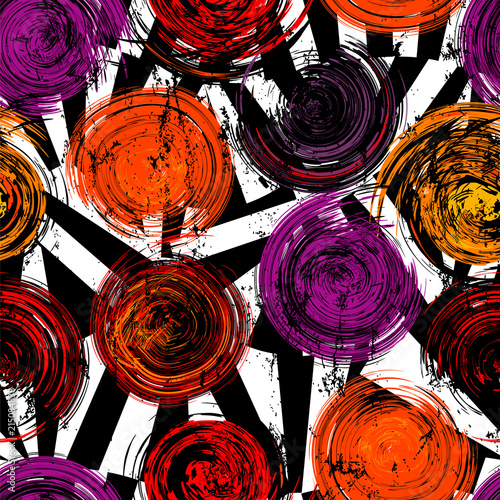 seamless background pattern, with circles, strokes and splashes, on black and white