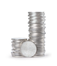 Stack Of Silver Coins Isolated