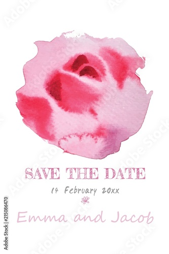 Fototapeta Wedding Invitation Pink Rose Watercolor Hand Drawn Save The Date Card Design Vector Template Set Invite Card Design Greeting Wedding