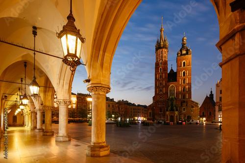 Deurstickers Krakau Panorama of Krakow Main Market Square, Poland.