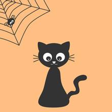 Cute Cartoon Black Cat And Spi...