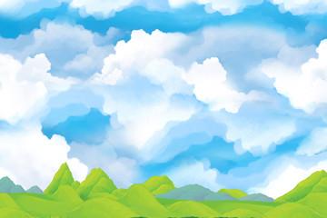cartoon scene with sky full...