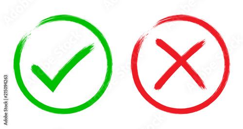 Green checkmark tick and red X icons Slika na platnu