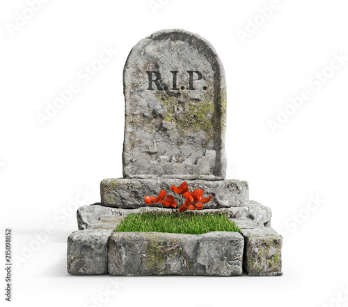 Foto Stone grave with grass isolated on a white background
