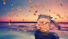 Buntes Laub Im Herbst Am See