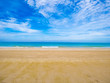 Tropical Idyllic ocean Blue sky and beautiful Beach in vacation time,Holiday on the beach,Summer concept.Thailand