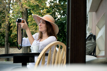 Tourist Woman Digital Camera Street Cafe Terrace Girl Hat Sun Vintage Travel Photo Shooting White Cup Coffee Panasonic Lumix