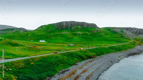 Deurstickers Groene Amazing scenery on the Isle of Skye in Scotland - aerial view