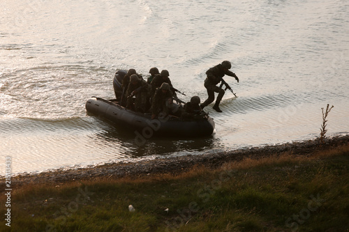 Poster Water Motor sports Romanian special forces military take part at a drill