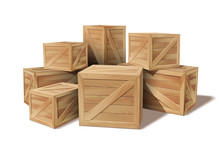 Pile Of Stacked Sealed Goods Wooden Boxes
