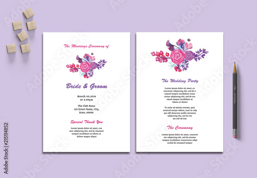 wedding program layout with floral elements buy this stock template