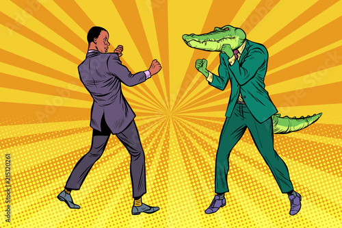 Fotografija Businessman Boxing with a crocodile