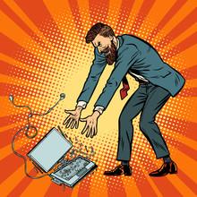 Man Destroys Laptop. Stress At Work