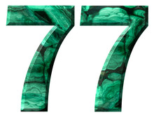 Arabic Numeral 77, Seventy Seven, From Natural Green Malachite, Isolated On White Background