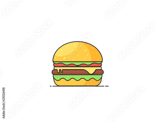 Burger Vector Illustration. Flat design icon for cafes and restaurants.