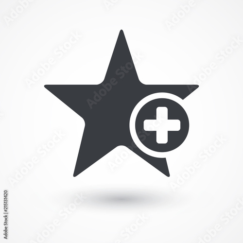 Star favorite sign web icon with plus glyph Wallpaper Mural