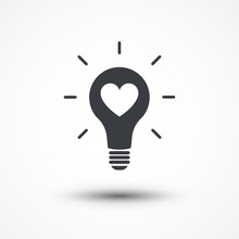 Heart Shape In A Light Bulb. Abstract Icon. Passion Icon. Inspiration, Imagination, Invention, Inspire, Conceptual Clip Art, Icon