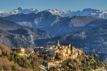 Bouyon With Mountains Of Parc National De Mercantour, Alpes-Maritimes, France