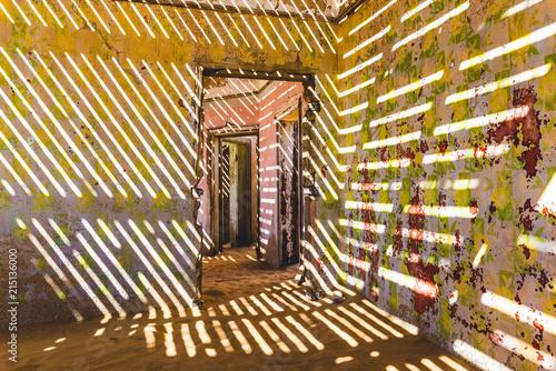 Kolmanskop, Luderitz, Namibia, Africa. Inside of an abandoned building.