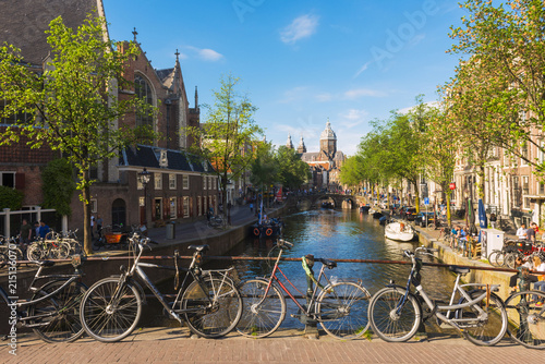 Amsterdam, Holland, Church of St Nicholas down the Voorburgwal canal