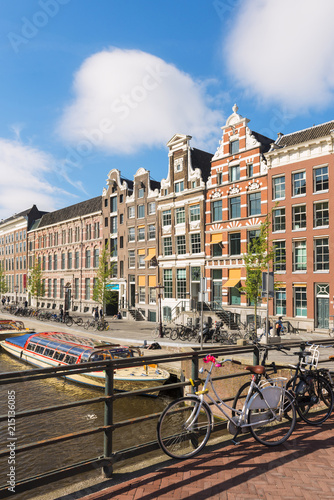 Amsterdam, Holland, Houses on the Rokin canal