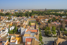 View From The Giralda Tower Of The Cathedral On The Real Alcazar And Sevilla, UNESCO World Heritage Site, Andalusia, Spain