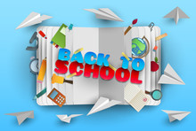 Back To School Banner In Paper...