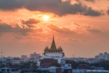 Wat Saket (mountain Temple) At Sunset, Bangkok, Thailand.