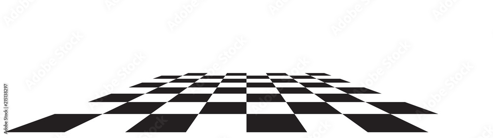 Fototapeta Checkerboard, chessboard, checkered plane in angle perspective. Tilted, vanishing empty floor.