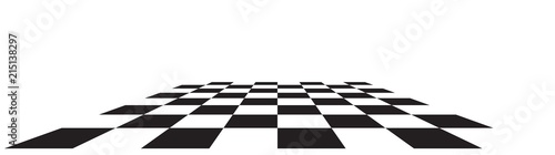 Stampa su Tela Checkerboard, chessboard, checkered plane in angle perspective