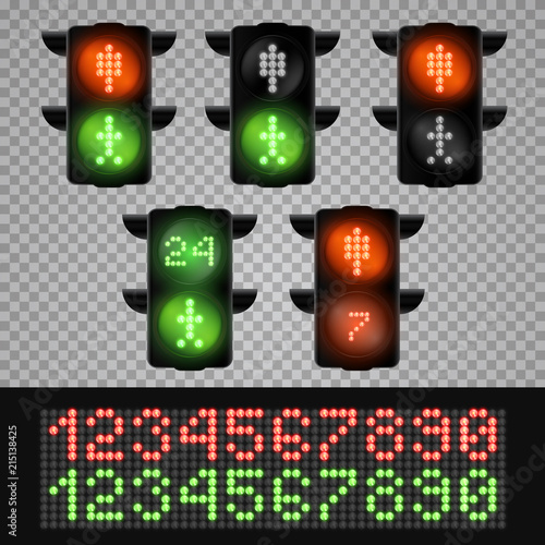 Fotografie, Obraz  Realistic 3d led pedestrian traffic lights with numbers isolated on transparent background