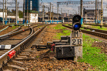 Blue Signal Of The Semaphore On The Background Of The Railway Track