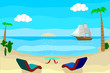 Summer Colorful Landscape. Blue Ocean and Sand Beach. Poster for Print in a Flat Style. Raster Illustration