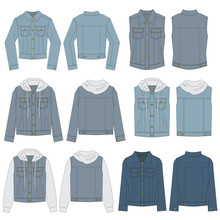 Vector Template For Denim Jacket Styles