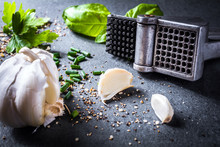 Garlic Press Surrounded By Garlic, Spices And Herbs On Slate Stone